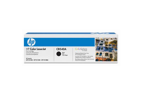 Toner HP CB540A schwarz, 2200 Seiten@5% Deckung, zu Color Laserjet CP1215/1515/1518/CM1312